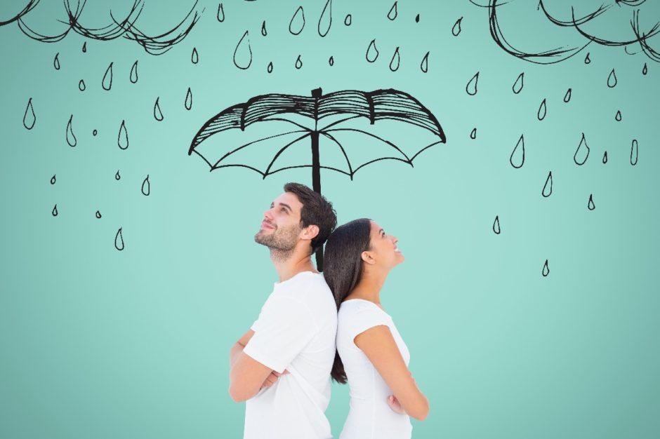 Pareja Paraguas